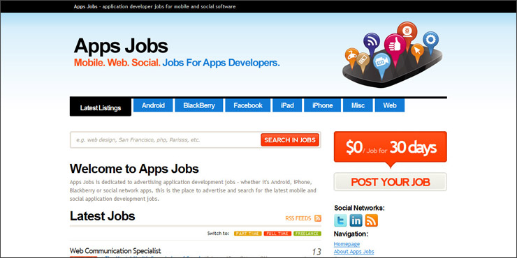 Apps Jobs - application developer jobs for mobile and social software