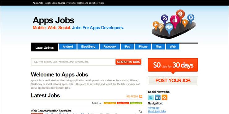 Apps Jobs - application developer jobs for mobile and social software